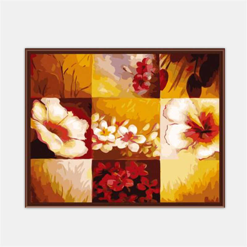 Frameless Picture Painting By Numbers Of Flower DIY Digital Canvas Oil Painting Home Decor For Living Room GX6225 40*50cm