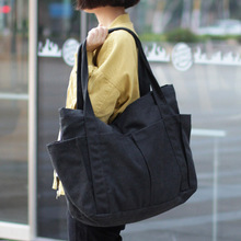 قماش متعدد جيوب سستة حقيبة يد للطلاب مدرسة المعلم النسيج الترفيه حقيبة مقبض علوي للمراهق كبير جامبو حفاضات حقيبة