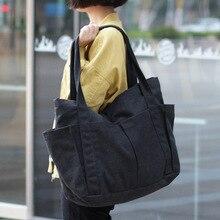 Canvas Multi pockets Zipper Handbag for Student School Teacher Fabric Leisure Top handle Bag for Teenager Big Jumbo Diaper Bag