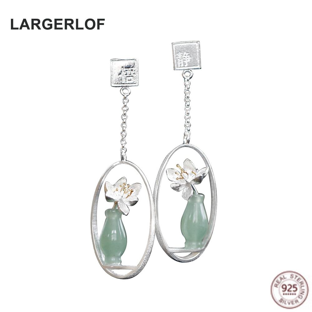 LARGERLOF Real 925 Sterling Silver Earrings Flower Fashion Jewelry Handmade Chalcedony Drop Earrings For Women AED47006
