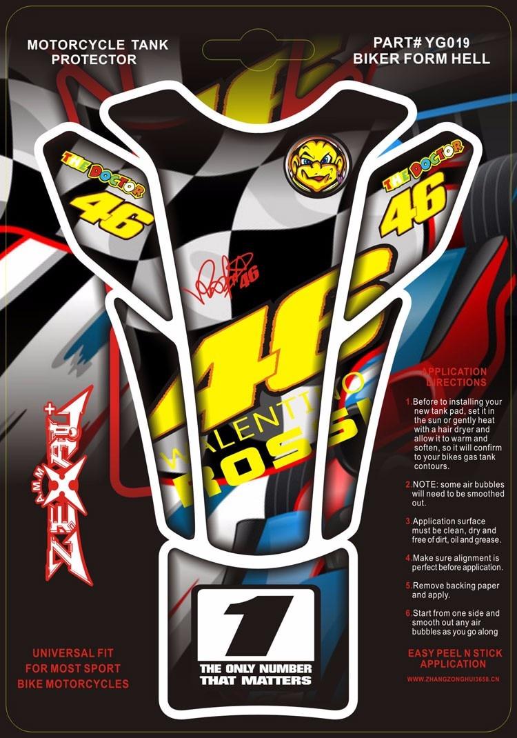 Yamaha bike sticker designs - 3d Motorcycle Fish Bone Gas Tank Pad Decal Sticker Valentino Rossi Sticker Vr 46 The Doctor