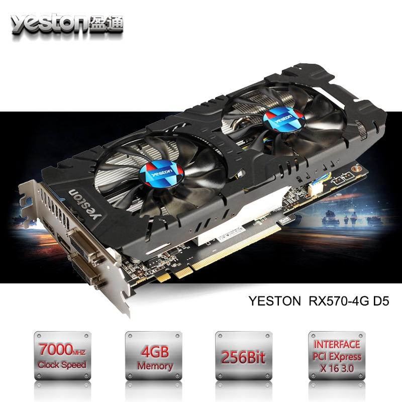 Yeston Radeon RX 570 GPU 4GB GDDR5 256 bit Gaming Desktop computer PC Video Graphics Cards support DVI/HDMI PCI-E X16 3.0