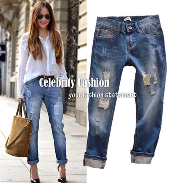 2016 Enrollado de Las Mujeres Ripped Boyfriend Jeans Para Mujeres Femme Flojos Demin Lavó Los Pantalones Pantalones Más El Tamaño 26-34 El Envío Libre