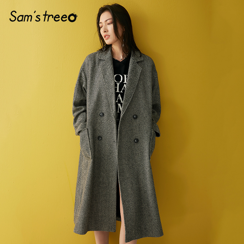 Samstree Female Winter Wool Coat Vintage Herringbone Waist Belt Women Long Coat Turn down Collar Lady