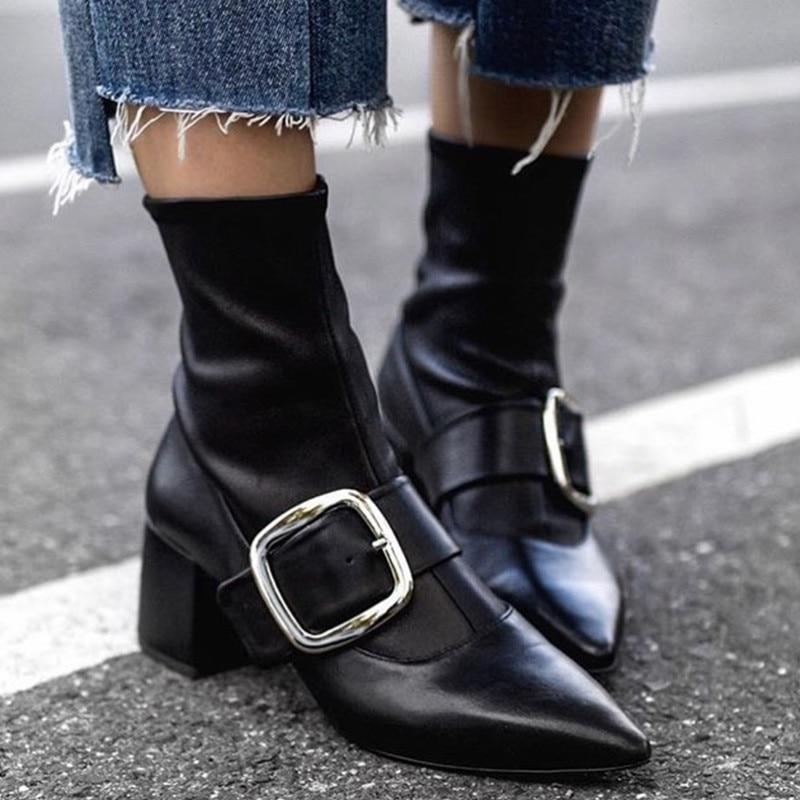 Extensible Talons Tricot Designer Dames Femmes Chaussons Cheville Hiver Boucle Patchwork Chaussures Élastique Chunky Hauts Bottes Chaussette Spxpqgz