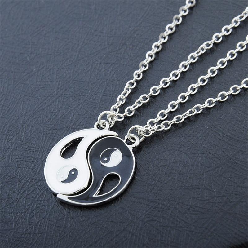 2p yin yang pendant necklace black white couple sister