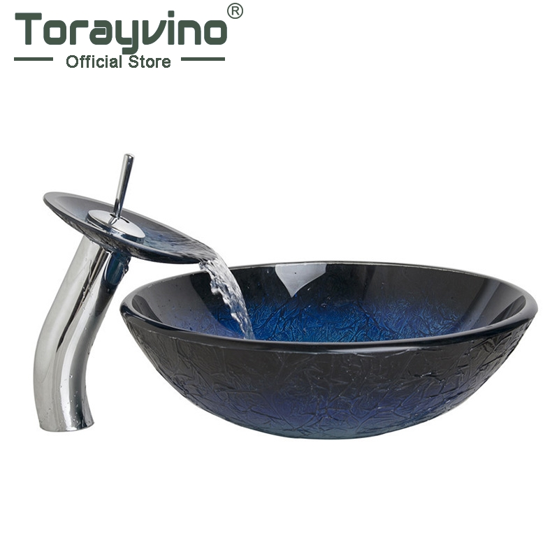 Torayvino Bathroom Waterfall Washbasin Lavatory Tempered Blue Painting Glass Basin Sink Combine Vessel Vanity Tap Mixer Faucet