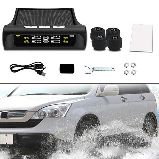 Energia solar/USB Conjunto Display LCD Digital Medidor De Medidor de Pressão de Ar Do Pneu Da Roda de Carro Pneu Ferramentas De Diagnóstico DXY88