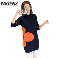 YAGENZ Women Sweater 2017 Autumn Winter New Medium Long Two Pocket Knitwear Pullover Loose Warm Sweater