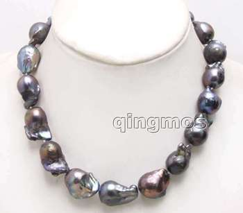 Big 14*25mm Black Baroque Natural Freshwater Nuclear pearl 17'' Necklace-nec6413