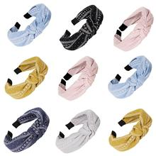 Vintage Headband Flower Knotted Hair Band for Women Fashion INS Korean Girls Accessories Fairy Simple Striped Hairband 2019