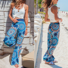 Women Ethnic Style Floral Print Pants Boho Beach Hippie Wide Leg Loose Ladies Gypsy Palazzo Casual Trousers Pantalon Femme