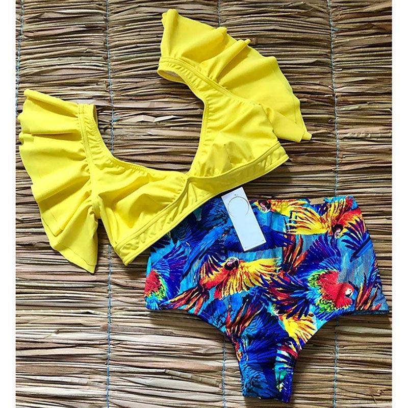 Floral Ruffled Hem Bikini Set Women Flora V-neck High-waisted Two Piece Swimsuit 2018 Girl Beach Bathing Suit Swimwear Biquinis