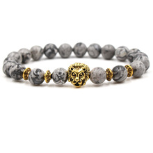 Fashion Charm Lion Head Gold Bracelet On The Arm Stone Natural Mens Bracelets 2019 Jewelry Accessories Dropshiopping