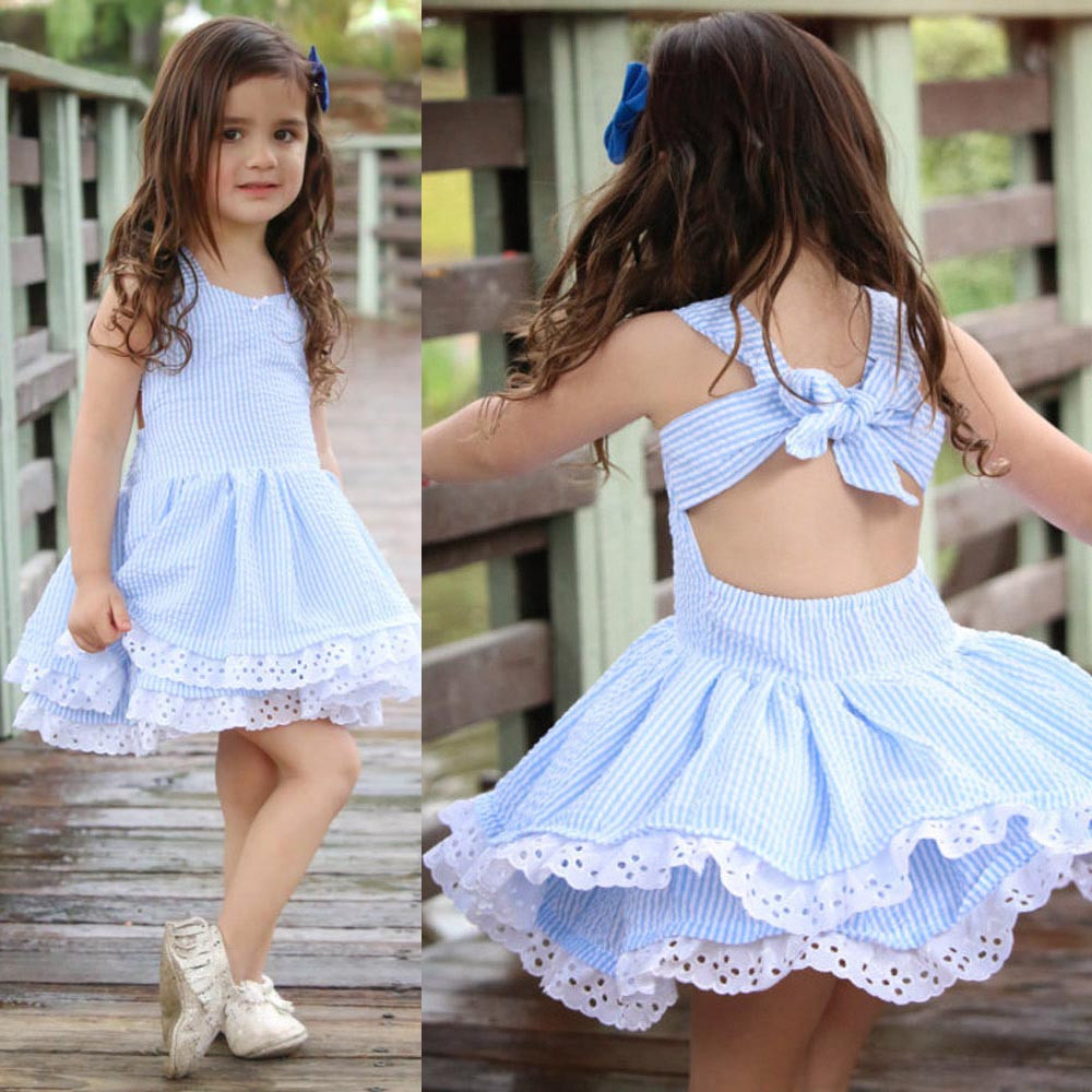 Baby Girl Summer Clothes Stripe Lace Party Pageant Princess Dresses Sleeveledd Striped Backless Party Wedding Princess Dresses(China)
