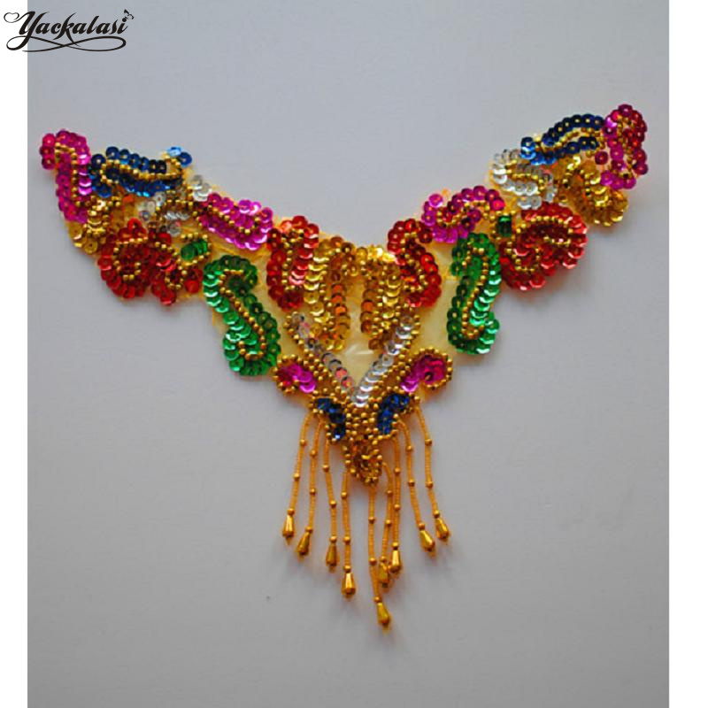 Arts,crafts & Sewing Patches Christmas Trims 10 Pcs/lot Sequined Floral 3d Lace Collar Beading Hair Accessories Gold Silver Flower Applique Beaded 25*11cm