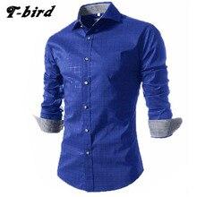 Men Shirt Long Sleeve 2017 Brand Men Shirts Casual Male Slim Fit Fashion Printed Plaid Chemise Mens Camisas Dress Shirts 4XL ZYM