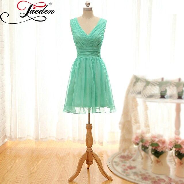 e7b715b44c1 JAEDEN Pastel Green Chiffon Short Bridesmaid Dresses Sleeveless Tank A Line  Back Zipper 2017 E086 V Neck Wedding Party Gowns