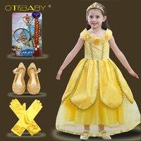 2018 Năm Mới Beauty And the Beast Belle Fancy Dress nữ hoàng Costume cho các Cô Gái Kids Vàng Hoa Dresses đối với Đảng Mặc