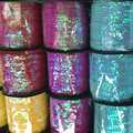 100yards/lot 6mm Laser Sequins Sewing on TRIM Flat Seam Paillette Ropes on Roll for Decoration Accessory Clothing Craft Decor