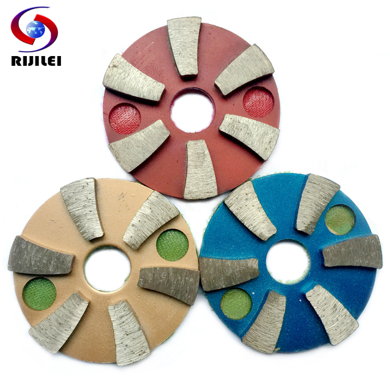 RIJILEI  3PCS/lot 3inch Metal Diamond Polishing Pads 80mm Grinding Disc For Marble Granite And Concrete Floor 3JKP6