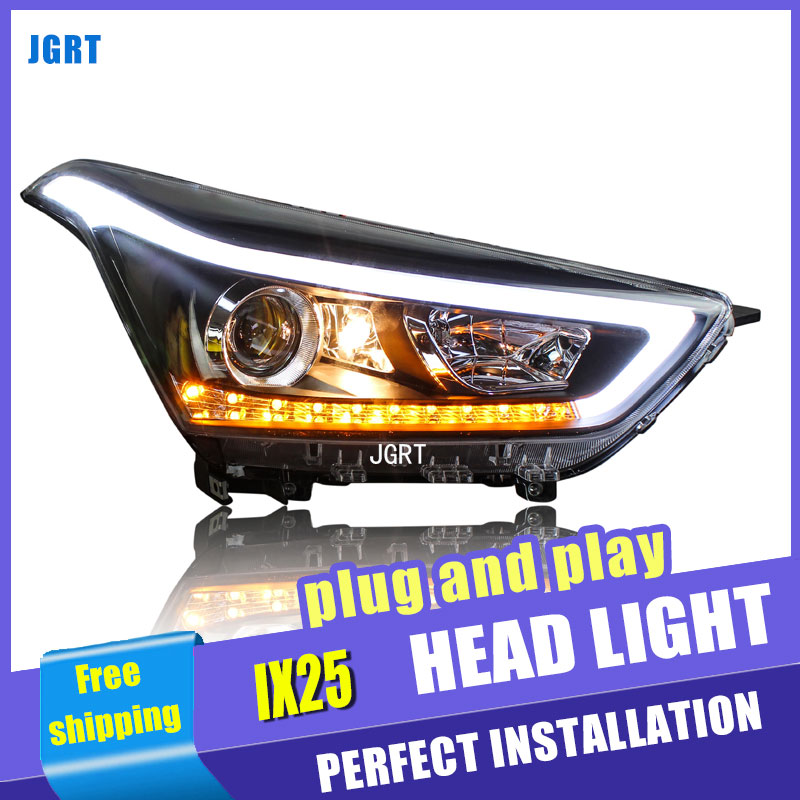 Car Styling For Hyundai ix25 headlights For ix25 LED head lamp Angel eye led DRL front light Bi-Xenon Lens xenon HID union car styling for renegade headlights for renegade hid head lamp angel eye led drl front light for jeep renegade hid lamp