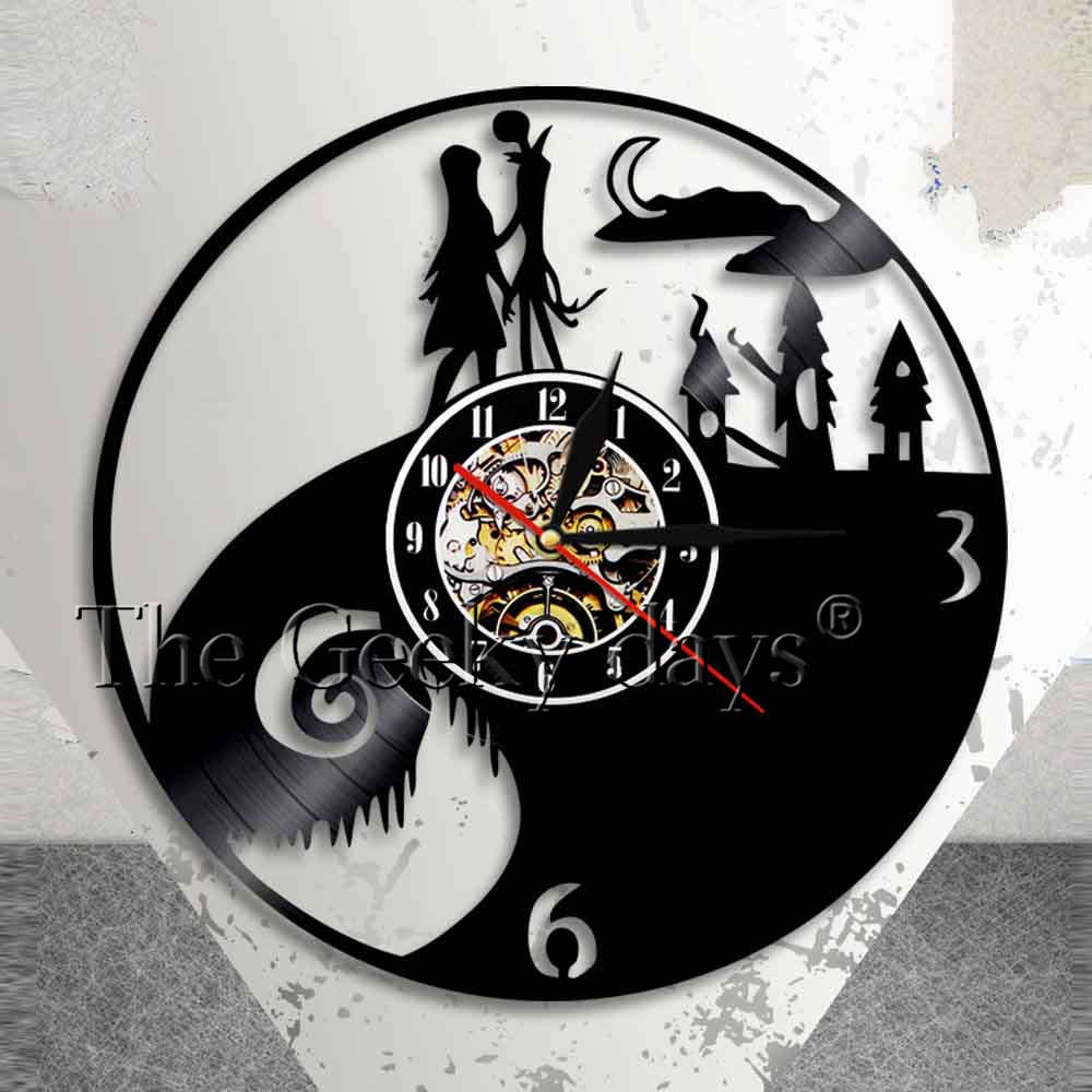 Nightmare Before Christmas Vinyl Wall Clock Jack Skellington Unique Gifts Living Room Home Decor Baby Decor