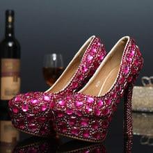 f5581e733 US4-11 Strass Mulheres de Cristal Super Tribunal Plataforma Stilettos de Salto  Alto Sapatos Bomba de casamento Strass 6 Cores de.
