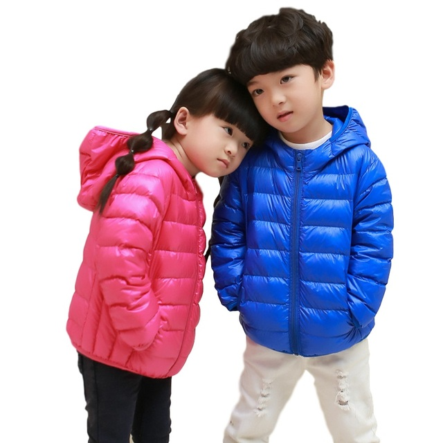 2016  girls' jacket fashion children ultra light down coat children down & parkas candy color duck down jacket 90% duck down