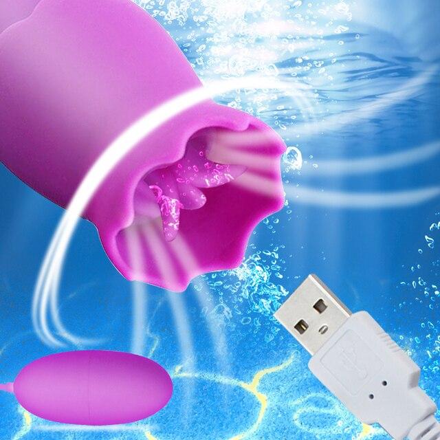 12 Speeds Tongue Oral Licking  Vibrators USB Vibrating Egg G-spot Vagina Massage Clitoris Stimulator Sex Toys for Women Sex Shop