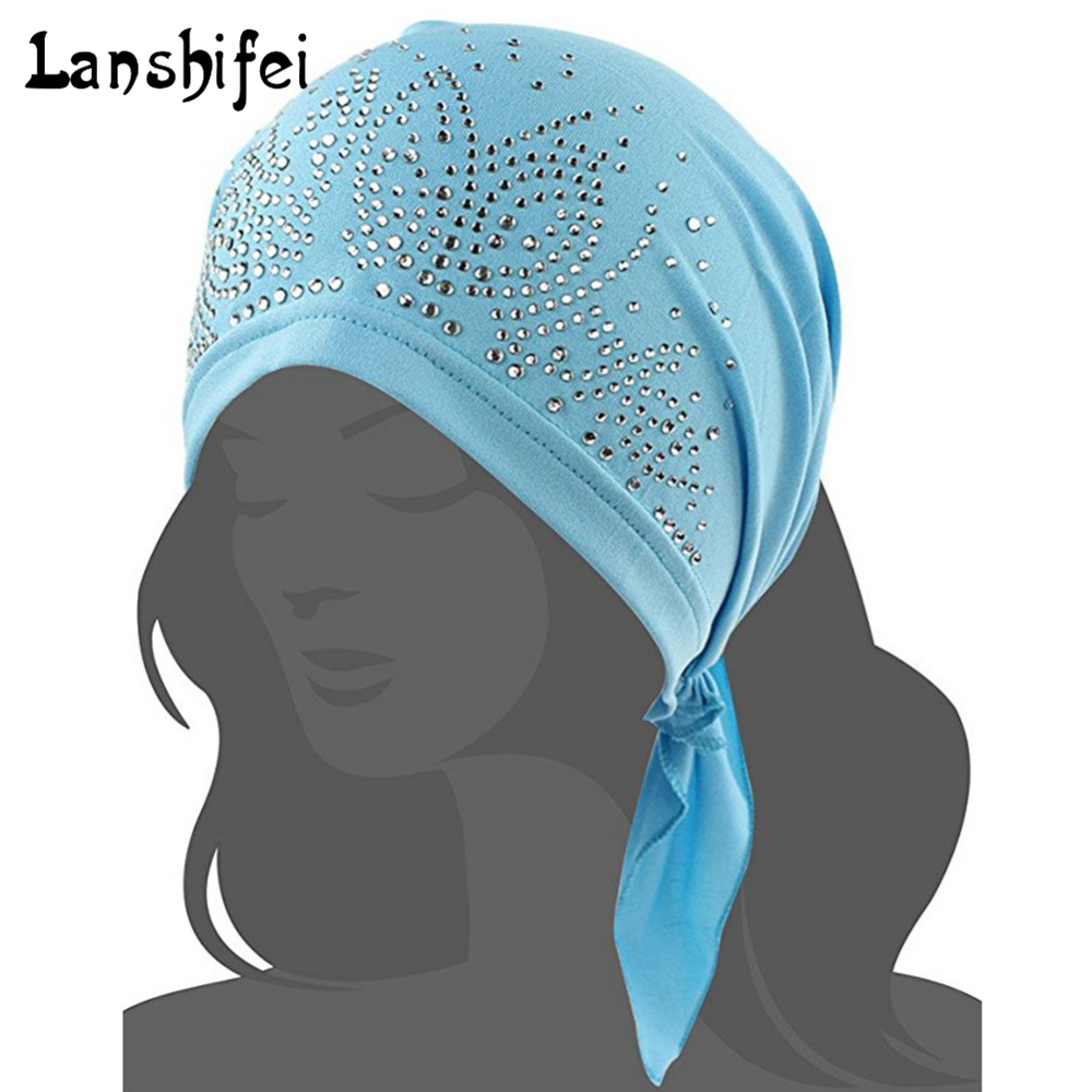 NEW Breathable Bandana Scarf Pre Tied Cotton Chemo Hat Beanie Turban Head cap with hot drill Headwear for Cancer Patients new cotton slouchy wrinkle cap double flower floral beanie hats for cancer chemo patients