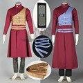 Athemis Anime Naruto Gaara Outfit Disfraces Cosplay Largo Abrigo Rojo Ropa Casual con Negro Diadema Regalo de Halloween Uniforme