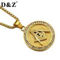 D Z Hiphop Gold Color Stainless Steel Paving Rhinestones Masonic Pendants Necklaces For Men Jewelry