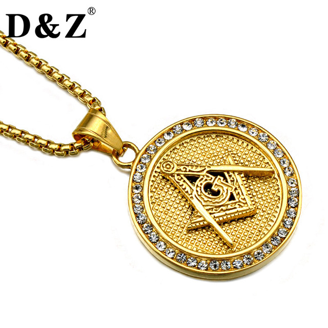 Dz hiphop iced out freemason necklace gold color stainless steel dz hiphop iced out freemason necklace gold color stainless steel paving cz masonic pendants necklaces aloadofball Gallery
