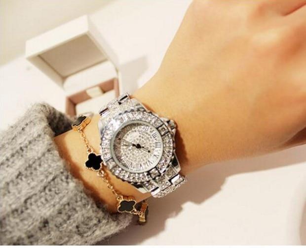 2014 nowych kobiet rhinestone zegarki sukienka ze stali kobiet - Zegarki damskie - Zdjęcie 4