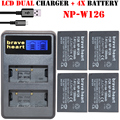 4x 1300mAh NP-W126 NP W126 NPW126 Batteries & Dual USB Charger for Fujifilm Fuji X-Pro1 XPro1 X-T1 XT1, HS30EXR HS33EXR X PRO1