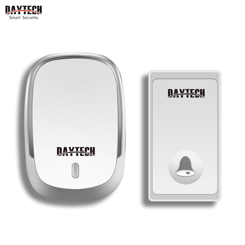 DAYTECH Wireless Doorbell Self-powered Door Bell Chime Waterproof 4 Level Volume LED Indicator No Battery Request Transmitters