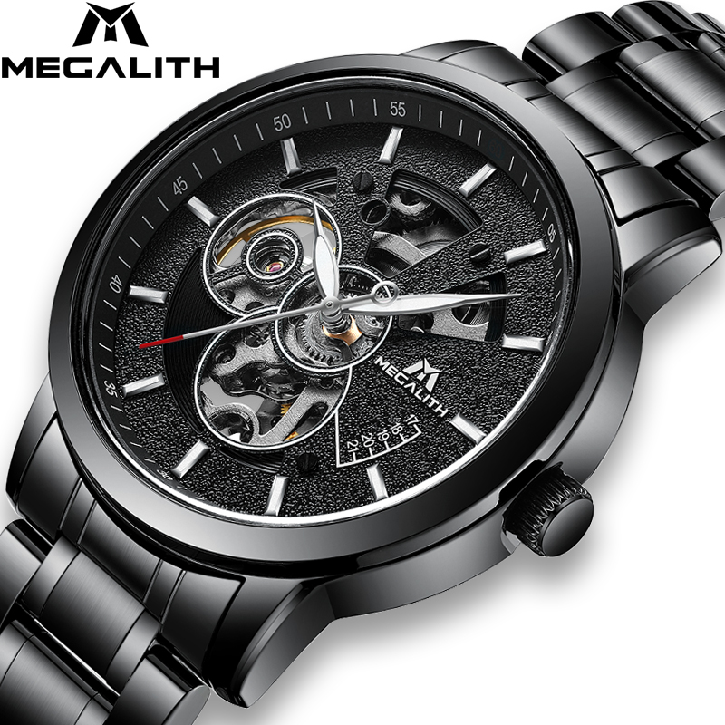 MEGALITH Fashion Mens Skeleton Watches Waterproof Black Full Steel Automatic Mechanical Watch Male Sport Clock Relojes
