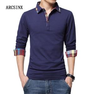 Image 2 - ARCSINX Polo Shirt Men Plus Size 5XL 4XL 3XL  XXL Spring Long Sleeve Polo Men Polo Shirt Autumn Cotton Winter Casual Mens Polos