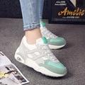 De malla de aire zapatos de mujer con cordones superstar zapatos de plataforma verde/gris/rosa tenis feminino colores mezclados costura zapatos resistentes