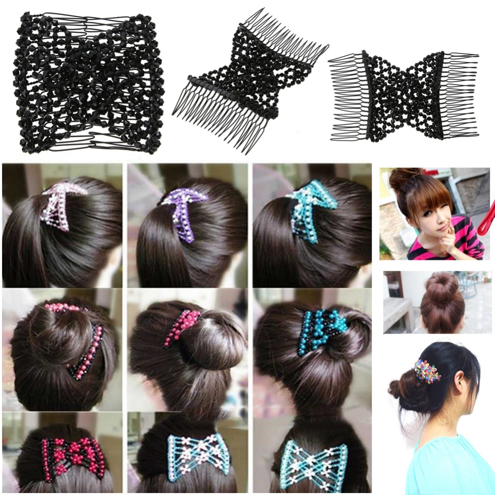 Bead Stretchy Hair Combs Double Magic Slide Metal Elastic Insert Clip Hairpins~
