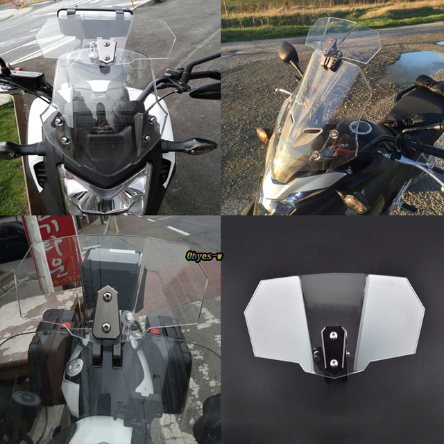 Clear Adjustable Touring Wind Deflector Windshield Windscreen Variable Spoiler for BMW R1100S R1200GS Triumph Tiger Explorer