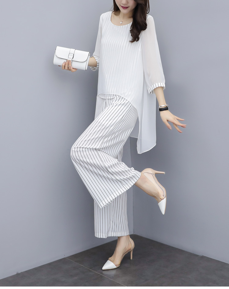 HTB127.4a8Cw3KVjSZFlq6AJkFXam - S-3xl Summer Chiffon 2 Two Piece Sets Outfits Women Plus Size Asymmetrical Blouses And Wide Leg Pants Suits Elegant Korean Sets
