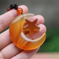 Natural Ice Color Brilliant Chalcedony Agate Hand Carved Star Moon Jade Pendant Necklace Fashion Women Sweater Chain Dropship
