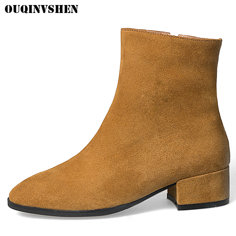 OUQINVSHEN Pointed Toe Square heel Women Boots Casual Fashion High Heel Ladies  Ankle Boots 2017 New Winter Zipper Women's Boots nemaone 2018 women ankle boots square high heel pointed toe zipper fashion all match spring and autumn ladies boots