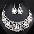Wedding jewelry African Beads Jewelry Sets full rhinestones Crystal Necklace and earrings Dubai Jewelry Set CN010