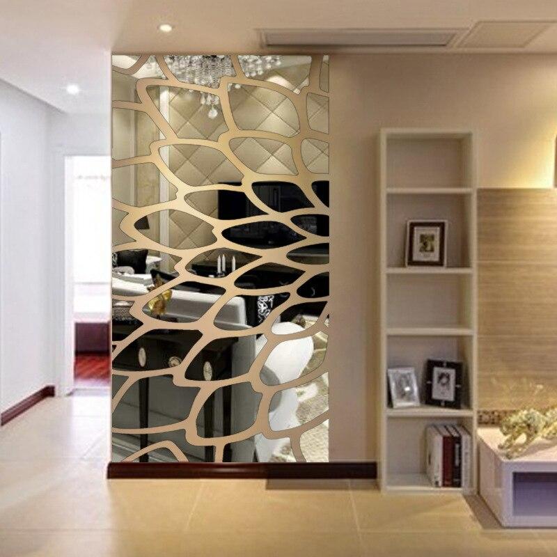 Creativo INS personalizar pluma DIY habitación de los niños dormitorio Casa TV Fondo pared 3D acrílico espejo calcomanía etiqueta de la pared