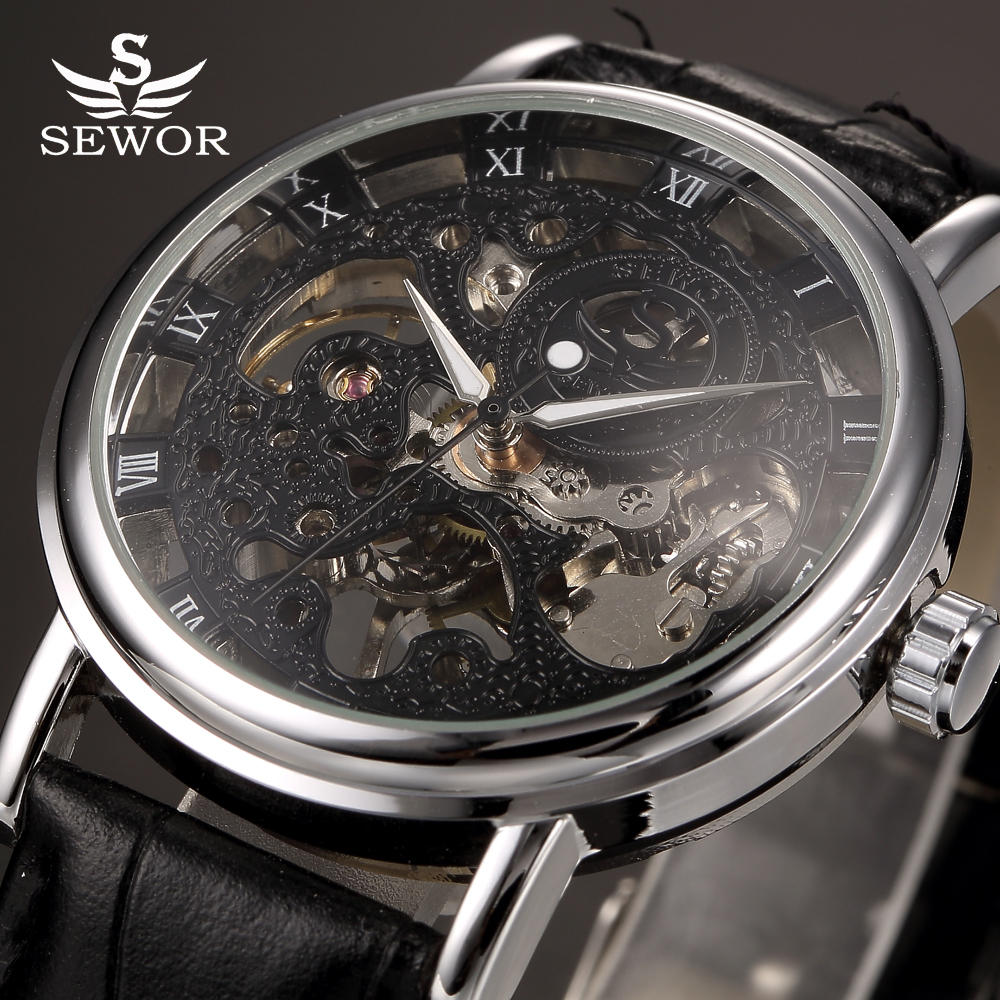Top Brand Luxury SEWOR Black Skeleton Mechanical Watch Men Transparent Hollow Clock Male Leather Watches Relogio Masculino ks black skeleton gun tone roman hollow mechanical pocket watch men vintage hand wind clock fobs watches long chain gift ksp069