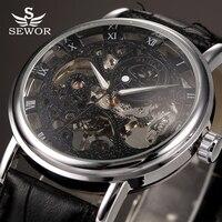 Top Brand Luxury SEWOR Winner Skeleton Mechanical Watch Men Transparent Hollow Clock Male Black Leather Strap