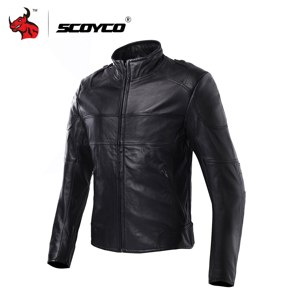 SCOYCO Men's Waterproof Moto Jacket Motorbike Racing Jackets Genuine Leather Cowhide Motorcross Jackets Motorcycle Clothing free shipping brand a2 style leather clothing plus size man s 100% genuine leather jackets classics mens engraved jacket quality
